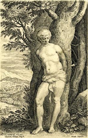 Raphael Sadeler, engraving after Titian, Saint Sebastian