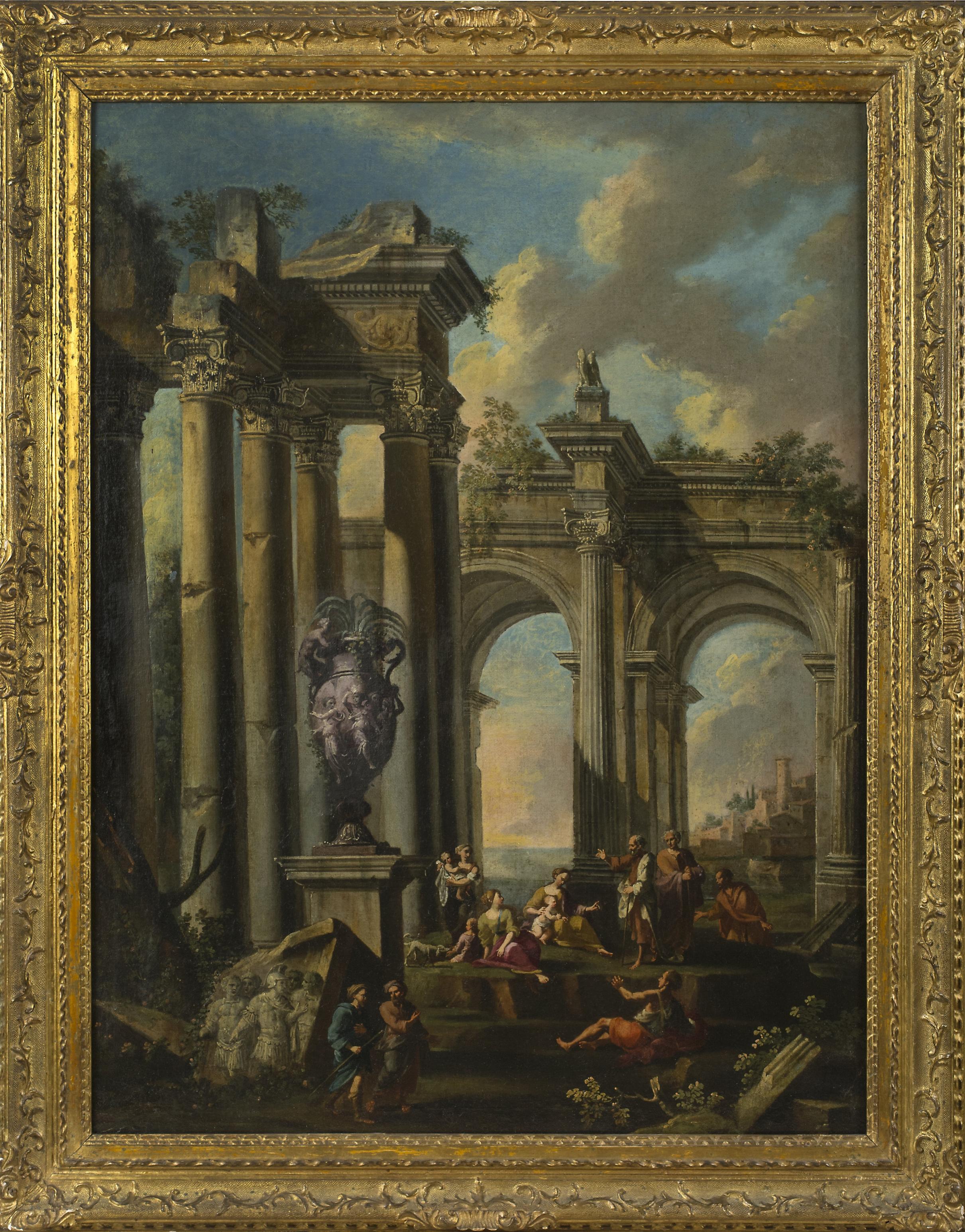 Gian Paolo Panini,  Capriccio architettonico con predica di un apostolo