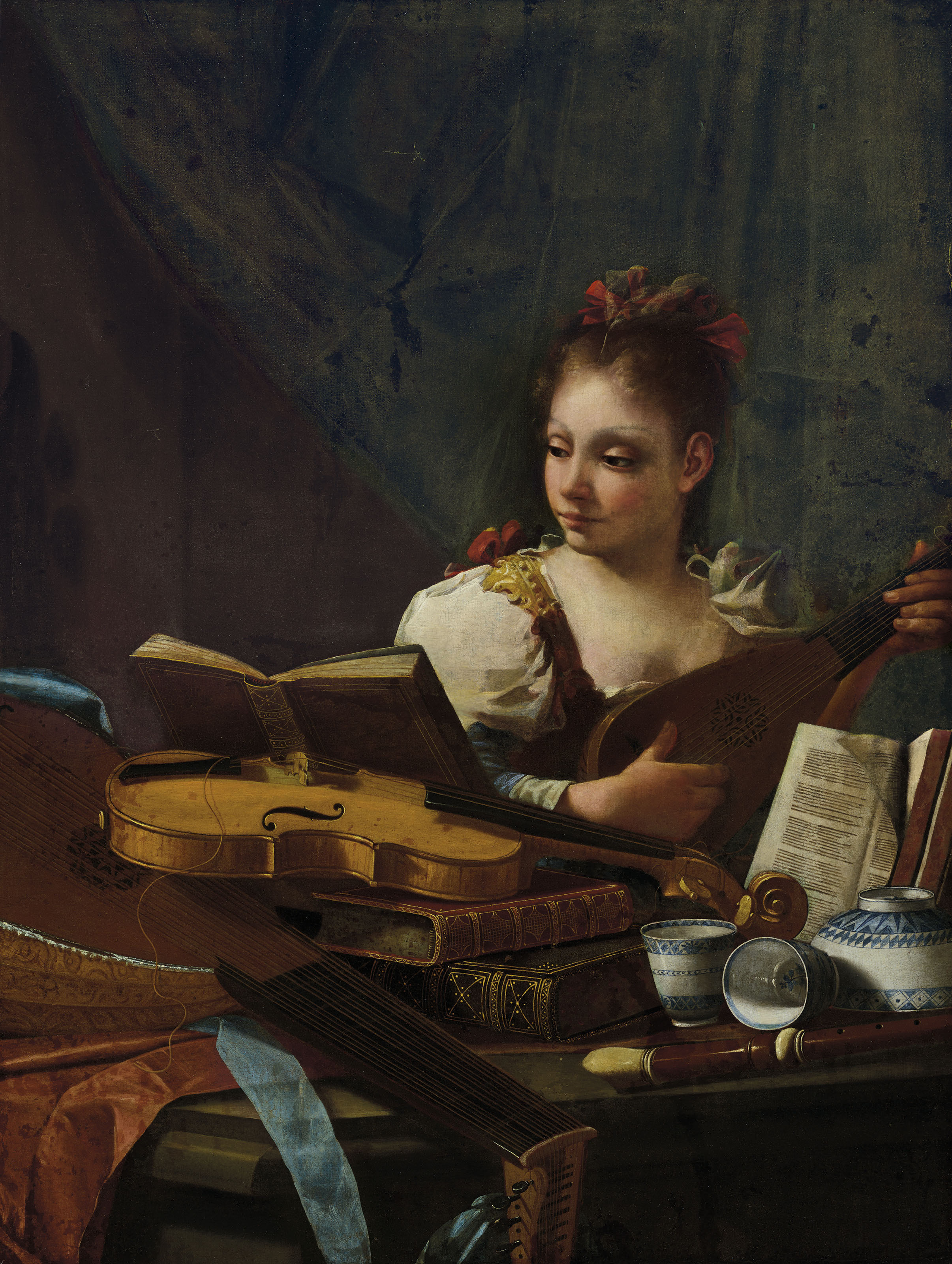 Francesco Conti,  Girl Playing a Mandolin  (Art Market, New York)