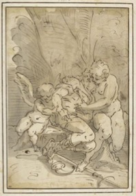 Fig. 1. Copy after Luca Cambiaso, Venus Mourning the Death of Adonis, pen, ink, and wash on paper, Louvre, inv. 9330.