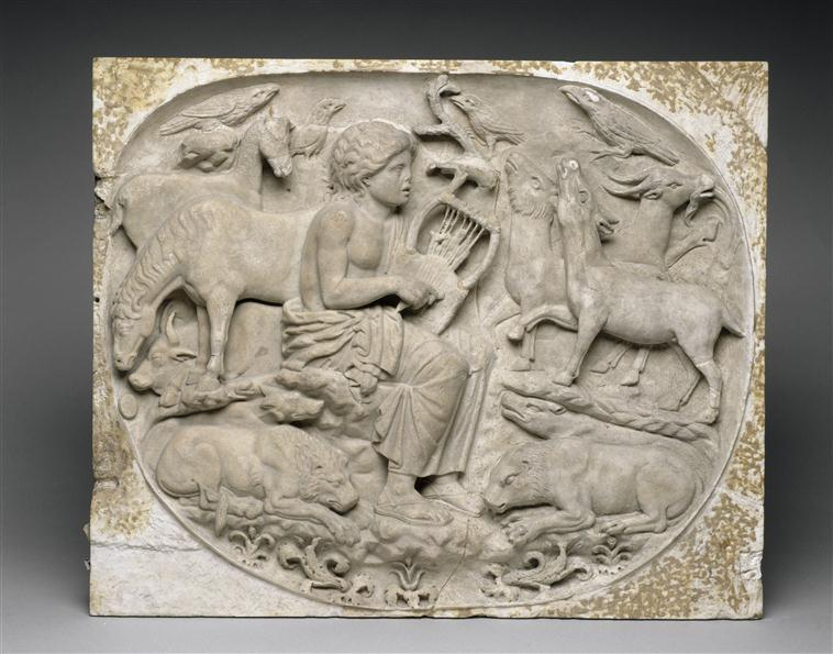 Fig. 1. Second century AD(?),  Orpheus and the Animals , marble, 26 x 35 inches (66 x 89 cm), Paris, Louvre, inv. no. Ma 3683