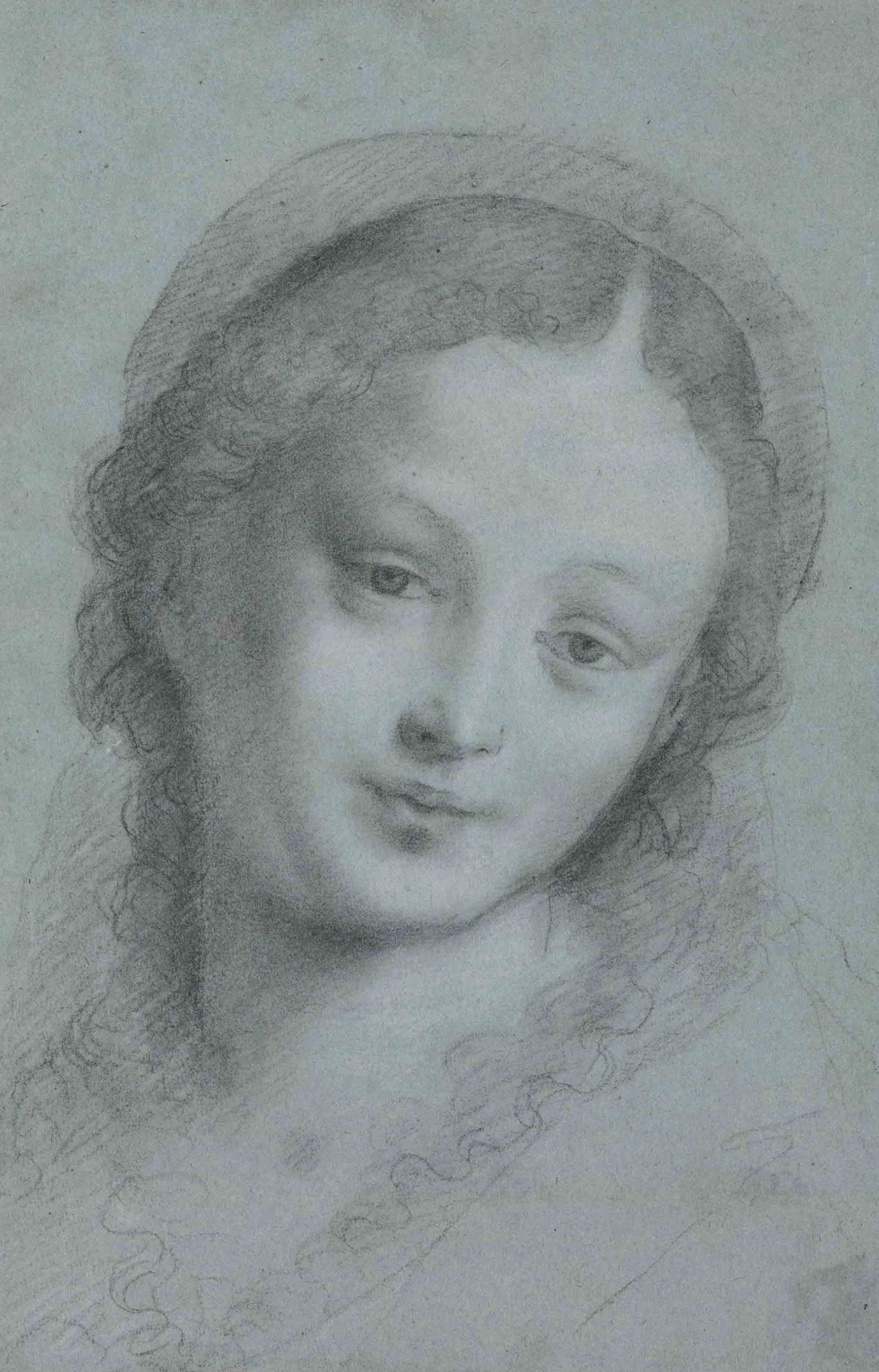 Fig. 2. Bernardino Lanino,  The Head of the Virgin , black and white chalk on blue paper, 12 ¾ x 8 5/8 inches (32.4 x 22.1 cm), private collection, New York.
