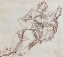 Fig. 4. Paul Troger,  Mother and Child, Possibly Saint Elizabeth with the Infant John the Baptist , pen and ink, 5.9 x 6.4 inches, Diözesanmuseum Hofburg, Brixen