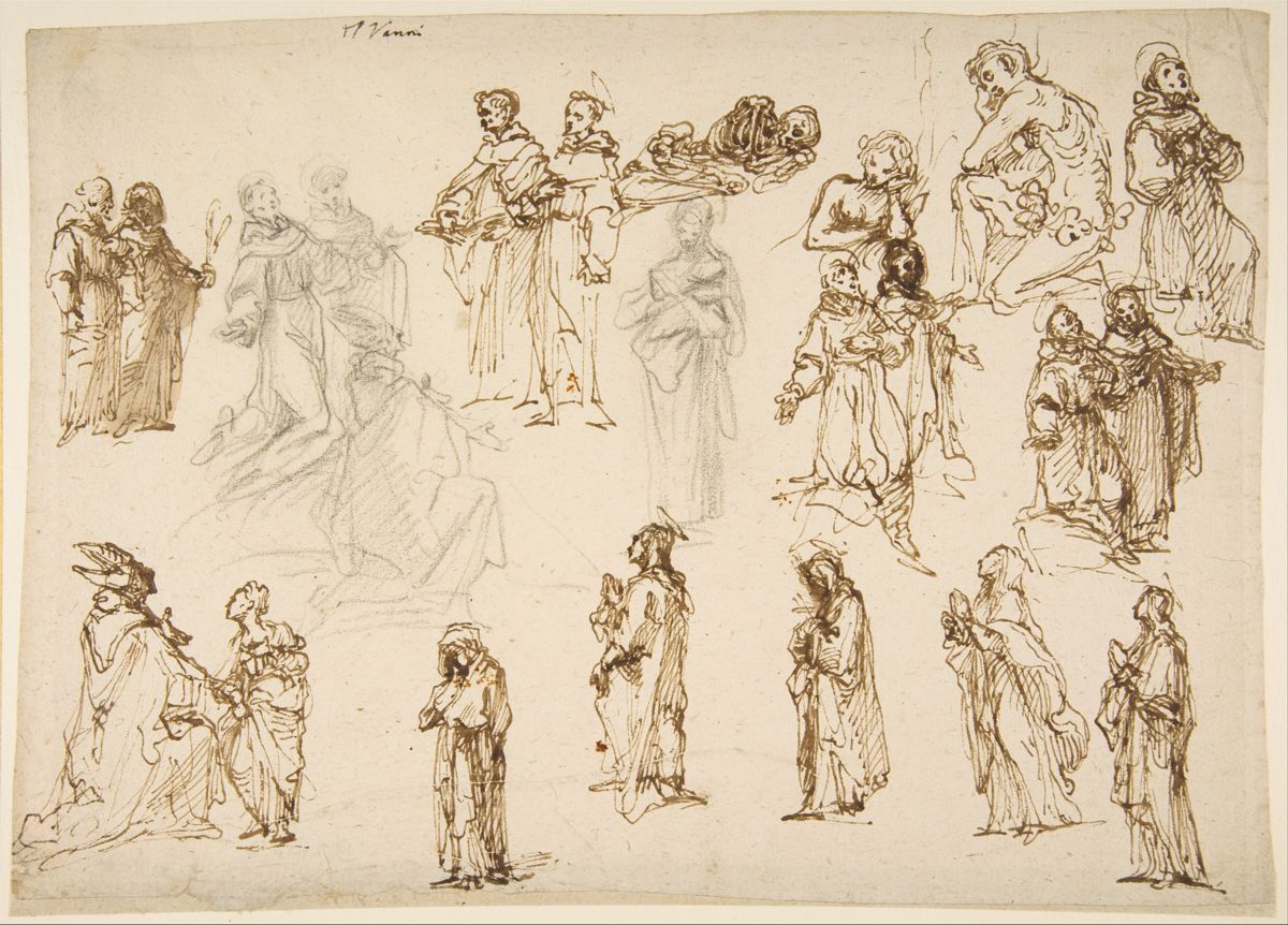 Fig. 1 Francesco Vanni,  Figure Studies for the Immaculate Conception with Saints Francis, Dominic, Louis of Toulouse, and Margaret of Cortona; Adam and Eve; and a Reclining Skeleton , 8 3/16 x 11 5/16 inches (20.8 x 28.8 cm)