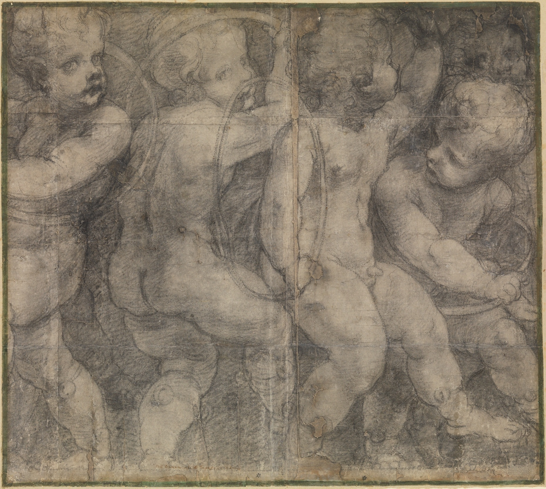 Fig. 1. Michelangelo Anselmi,  Putti Playing with Hoops , black chalk with outlines pricked for transfer, 22 × 24 13/16 inches (55.9 × 63 cm), Metropolitan Museum of Art, New York