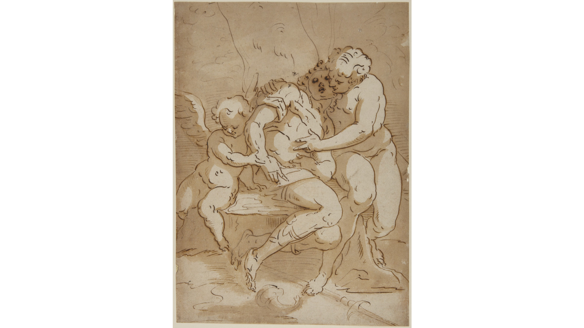 Fig. 2. Copy after Luca Cambiaso,  Venus Mourning the Death of Adonis , pen, ink, and wash on paper, Princeton University Art Museum, inv. 1948-645.