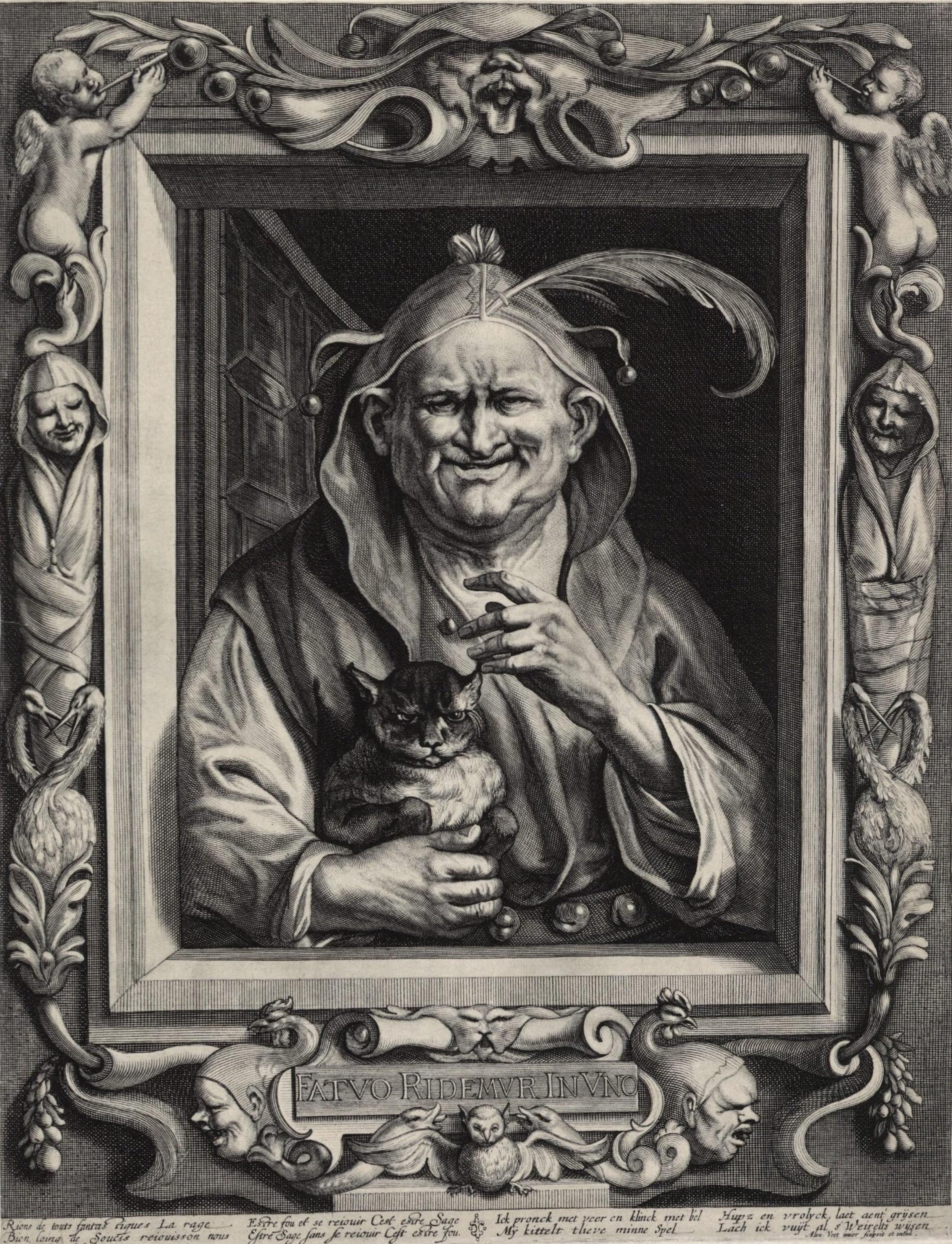 Alexander Voet after Jacob Jordaens, Fatuo Ridermur in Uno, engraved.