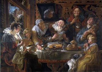 Jacob Jordaens, As the Old Sing, So the Young Pipe, oil on canvas, 66 1/3 x 93 ½ inches (168.5 x 237.5 cm), formerly in a private collection, Belgium.