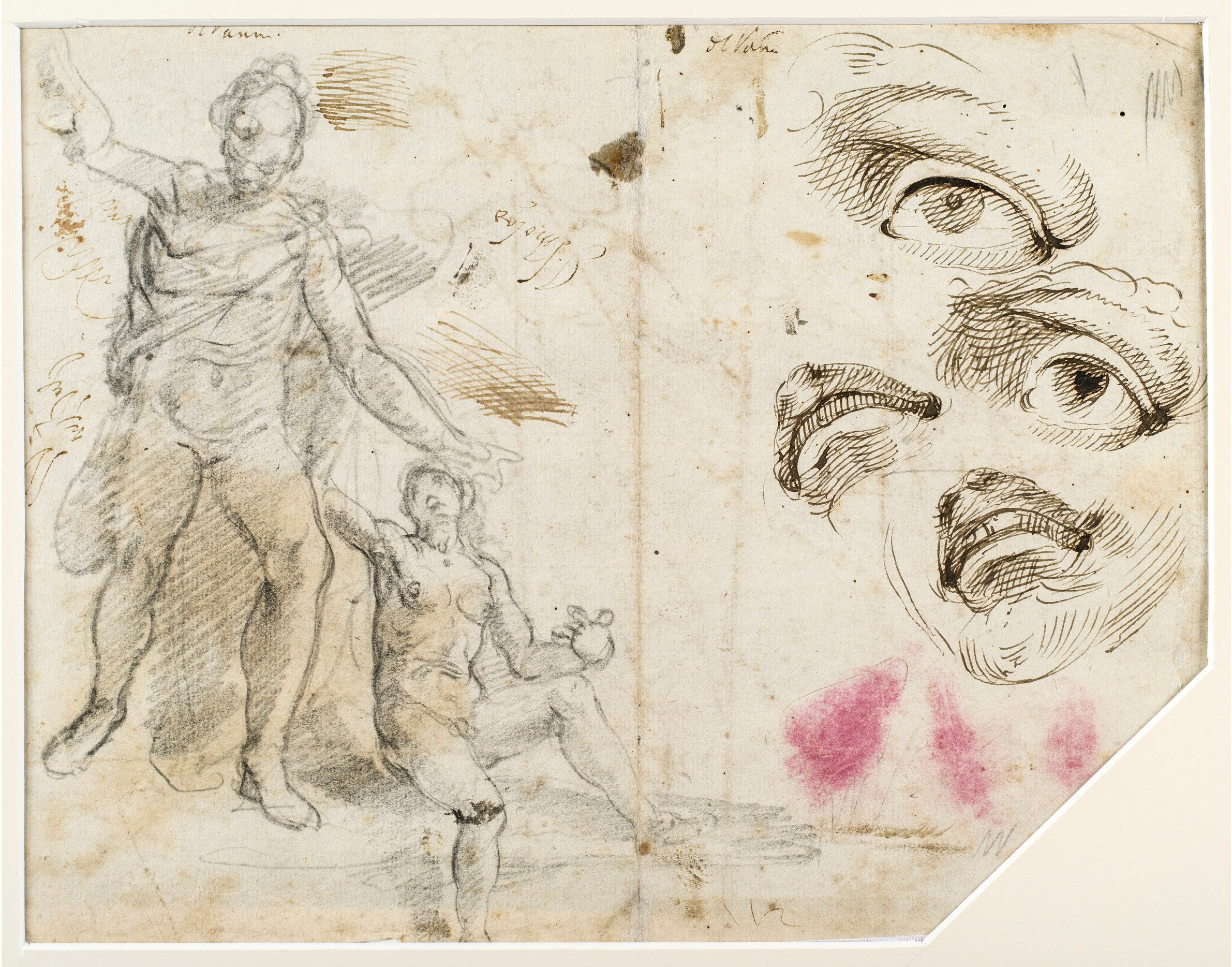 Alessandro Casolani,  Study a Male and Female Figure, Study of a Face