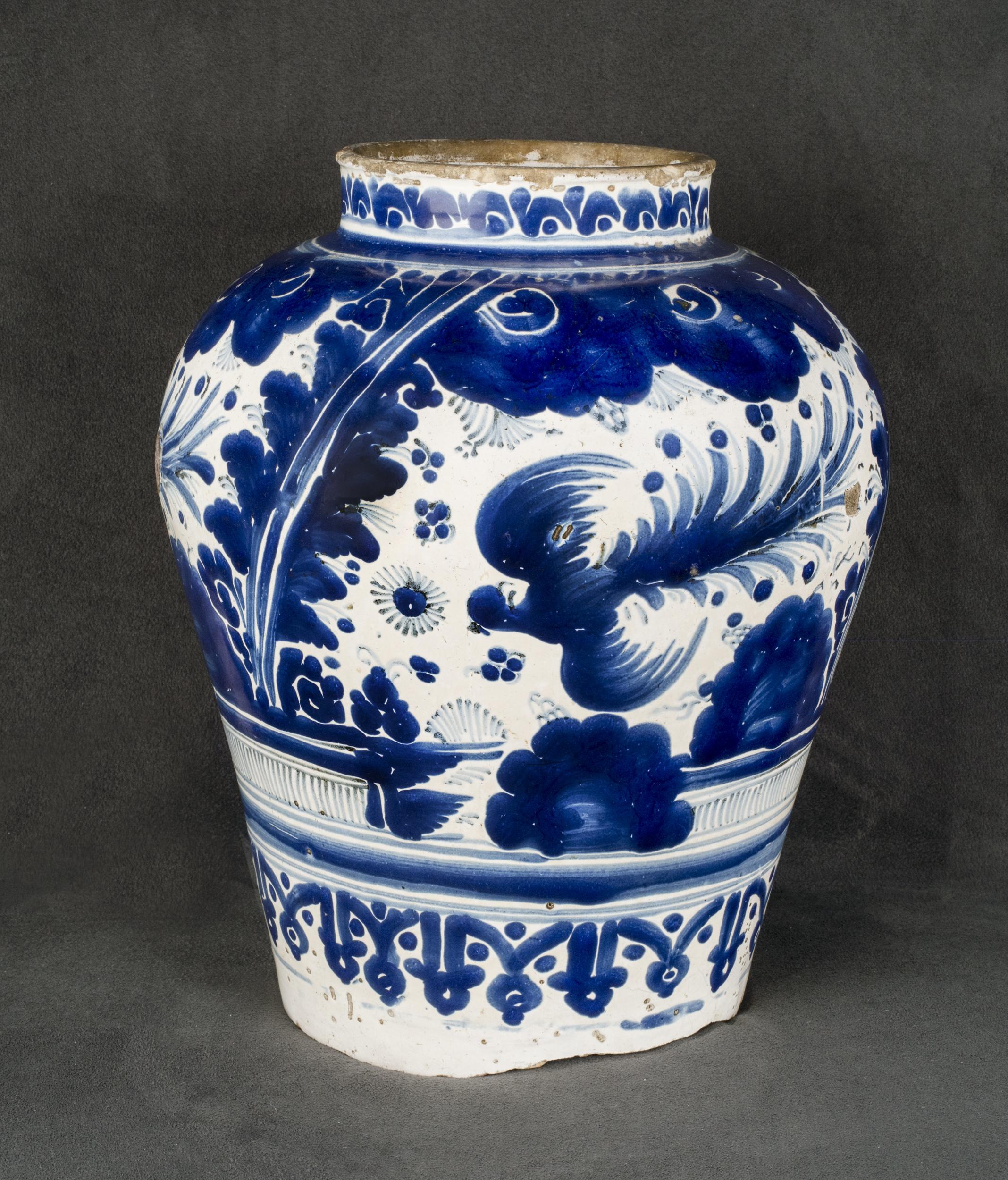 Mexican Talavera Poblana Ceramic, Jar in rich cobalt blue with quetzal decoration