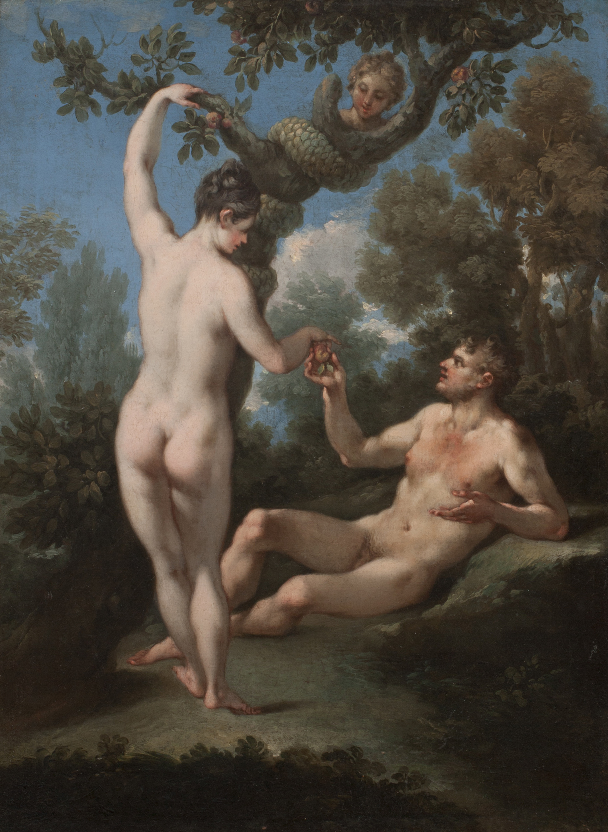 Michele Rocca, The Temptation of Adam and Eve. Oil on canvas.