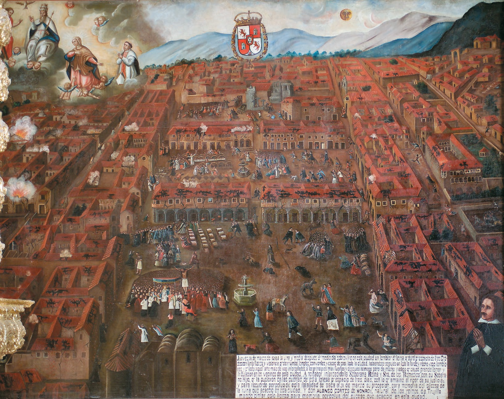 Fig. 4. Ex-voto of Cuzco's 1650 Earthquake, ca. 1651, oil on canvas, 10 ft. 11½ in. x 15 ft. 2 in. (3.34 x 4.62 m), Cathedral of Cuzco, Peru.