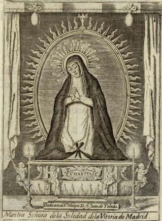 Fig. 2. 17th-century engraving of the Gaspar Becerra's  Señora de la Soledad .