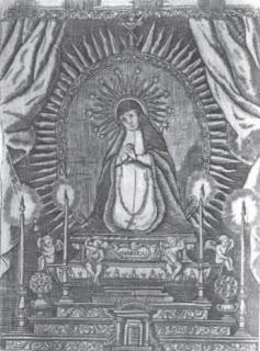 Fig. 3. 17th-century engraving of the Gaspar Becerra's  Señora de la Soledad .