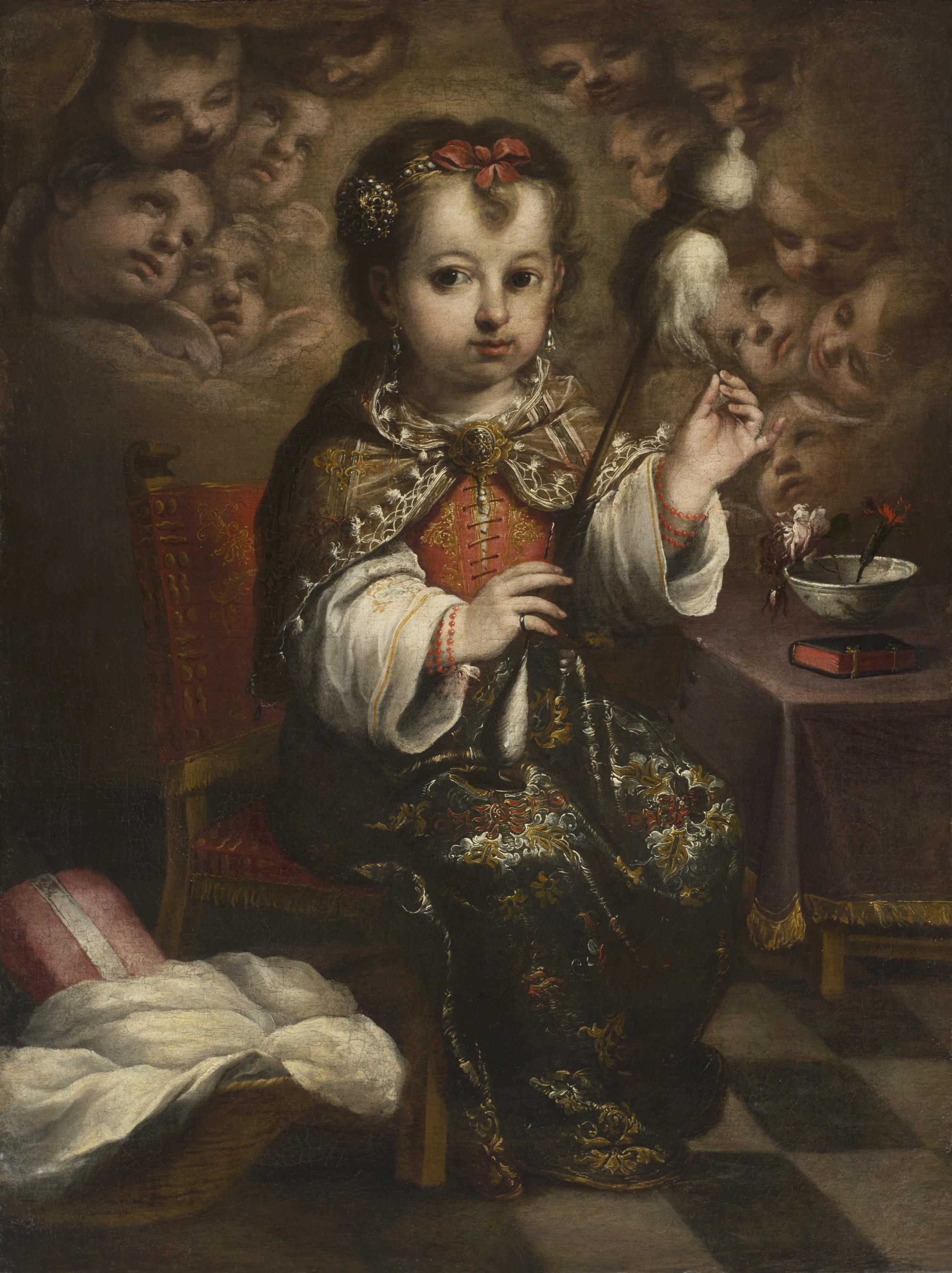 Juan Simón Gutiérrez  (Medina-Sidonia 1643 – 1718 Seville)  The Child Virgin Spinning  ( La Virgen niña hilando ) Oil on canvas, 30 ¼ x 22 ¾ inches (76.8 x 57.7 cm.)