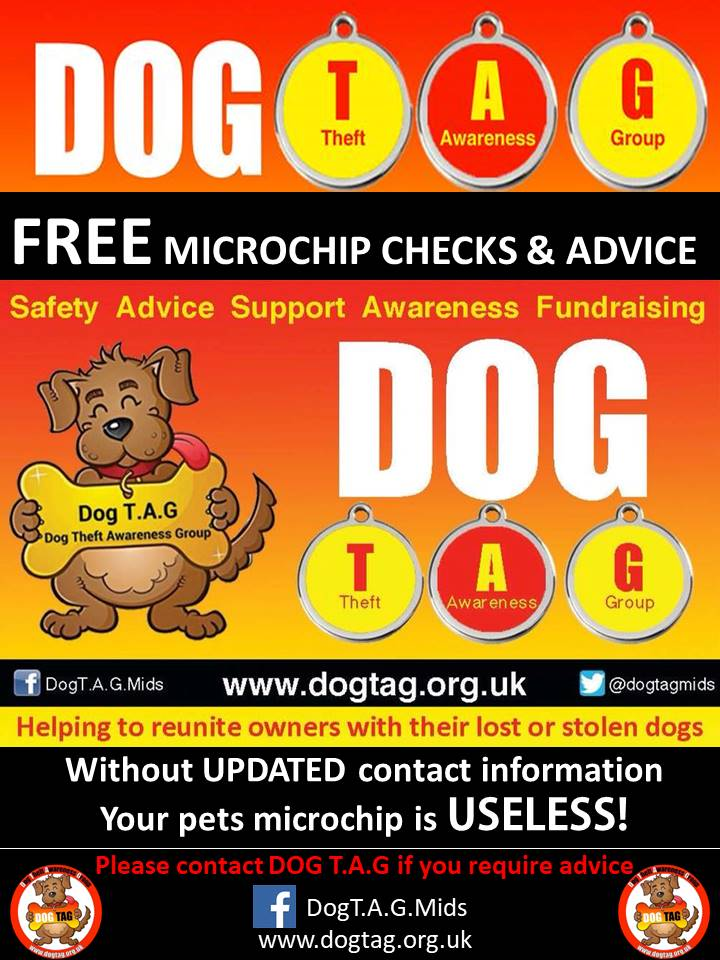 At all events we attend we offer free microchip checks and advice on keeping your dogs chip details up to date and current