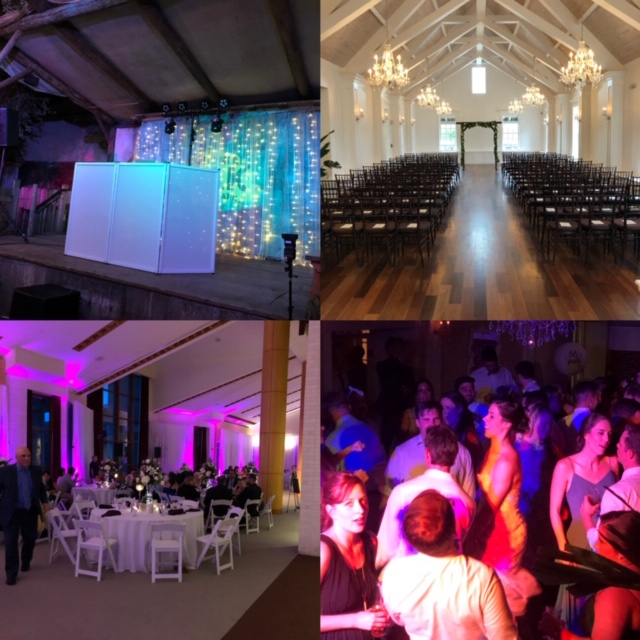 Our Total Wedding Package includes: Ceremony With wireless lapel microphone, 4 hour reception with intelligent dance floor lighting and 12 wireless LED Architectural Lights $1000