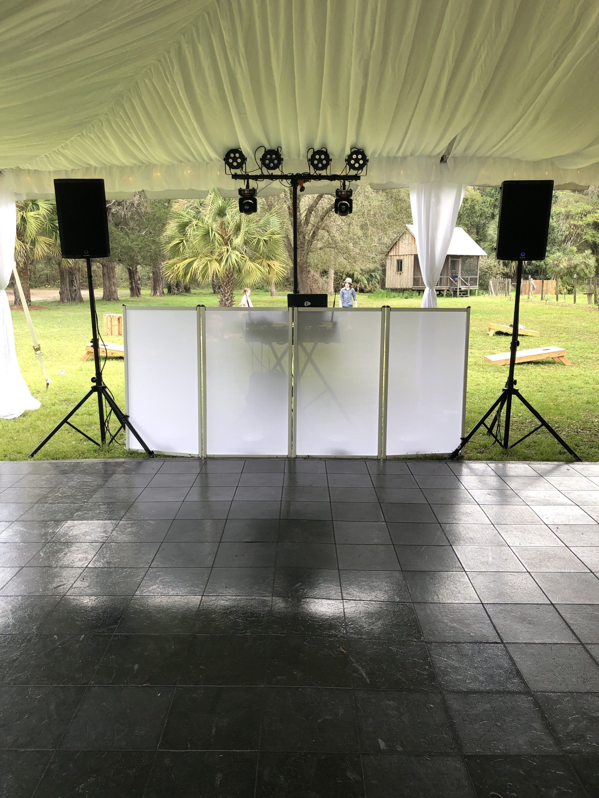 Our Reception package includes 4 hours of music and introductions with wireless microphone and a intelligent dance floor lighting package $675
