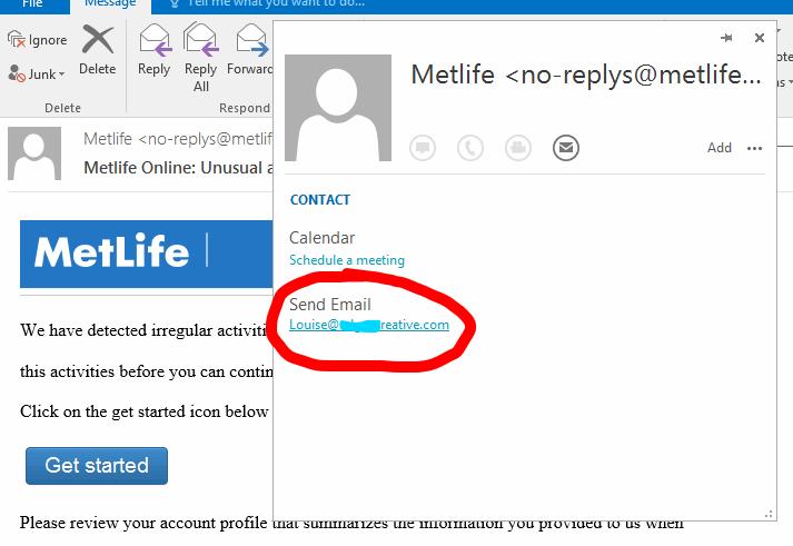 Metlife Email Phishing Sa