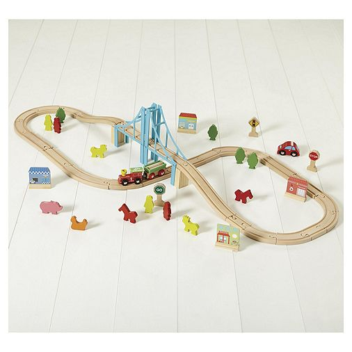 Carousel Multi Track Wooden Train Set. - £13