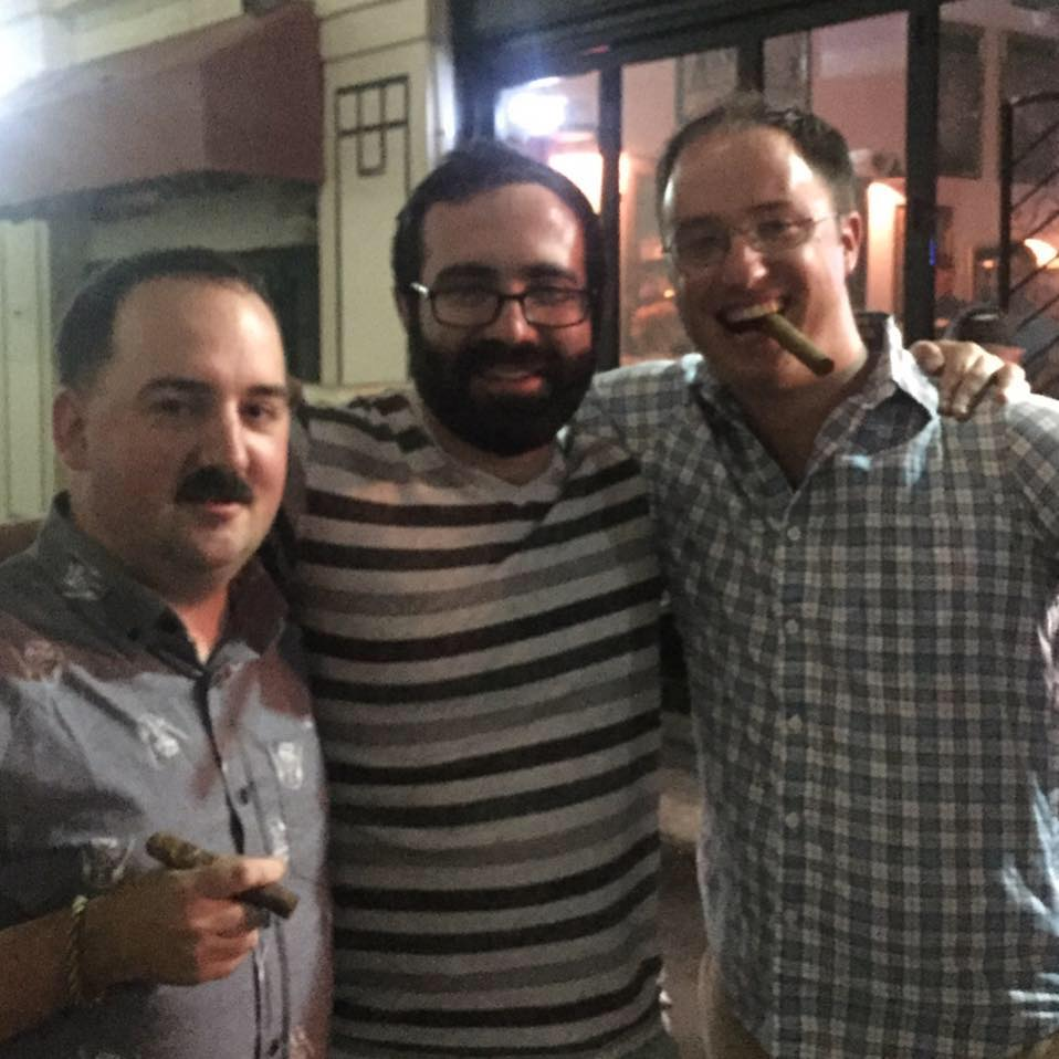 With two of my very best friends. From left to right: Me, Richard, and Charlie (the one who got me truly started smoking cigars)