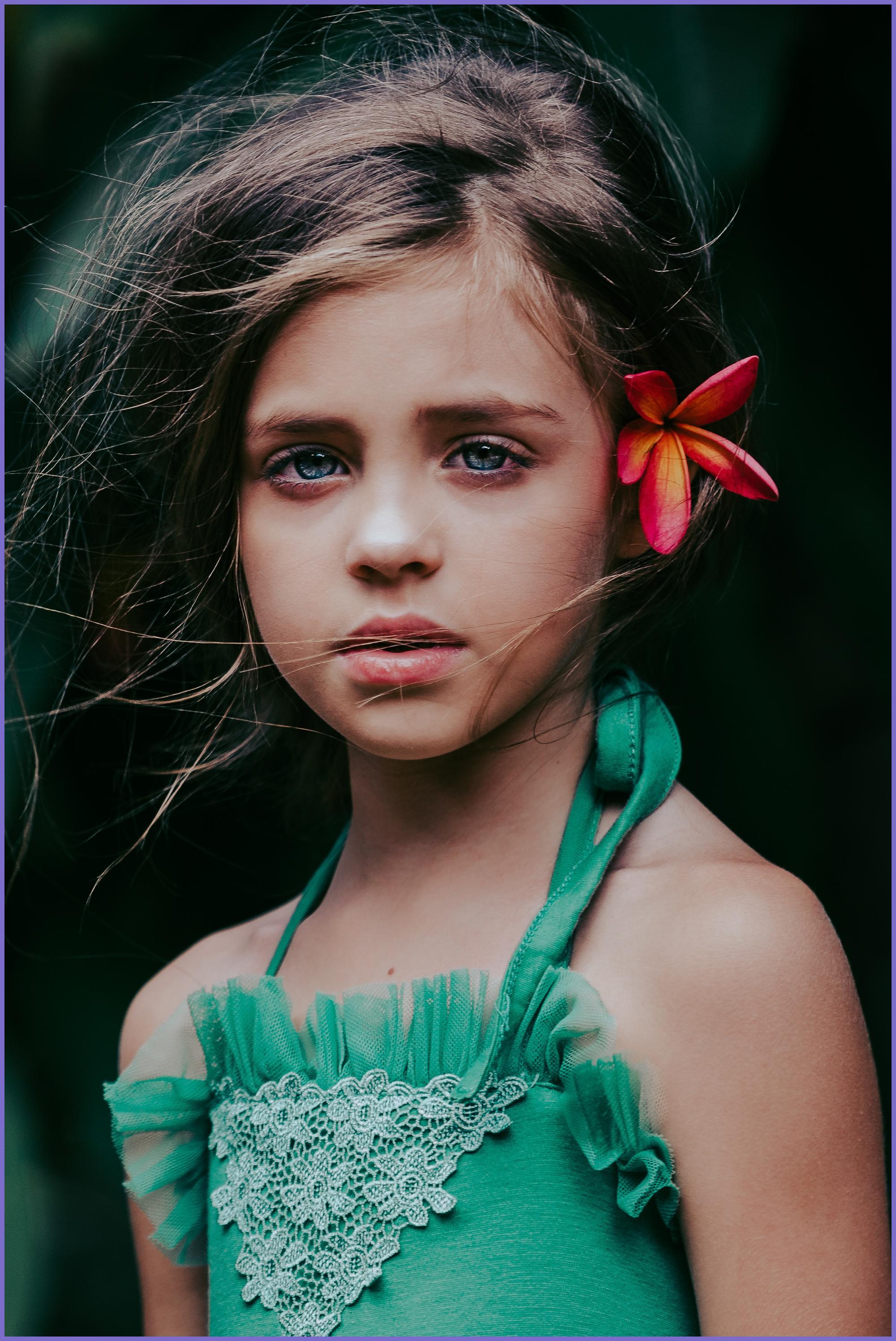 Girl model with flower - Honolulu Children photographer - Ketino Photography.jpg