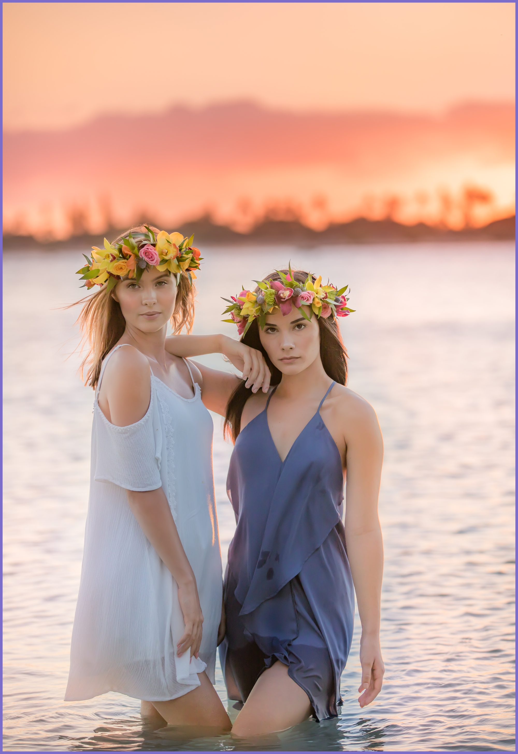 Models with haku flower crowns - oahu glamour photographer - ketino photography