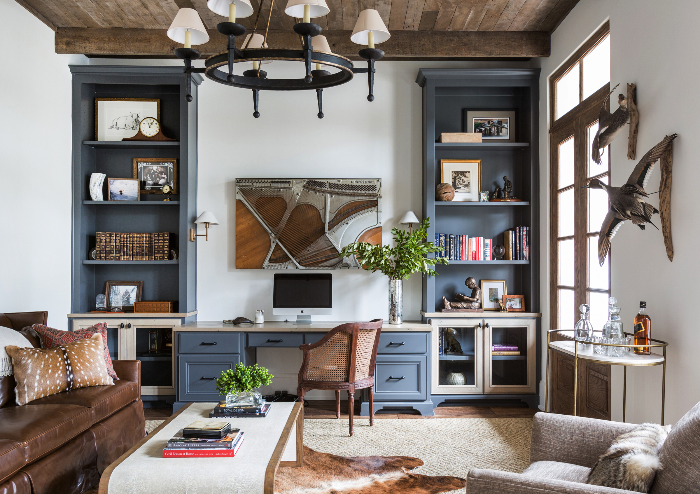 Award-Winning-Interior-Design-Marie-Flanigan-Office-Blue-Cabinets-Ceiling-Beams-Antiques.jpg