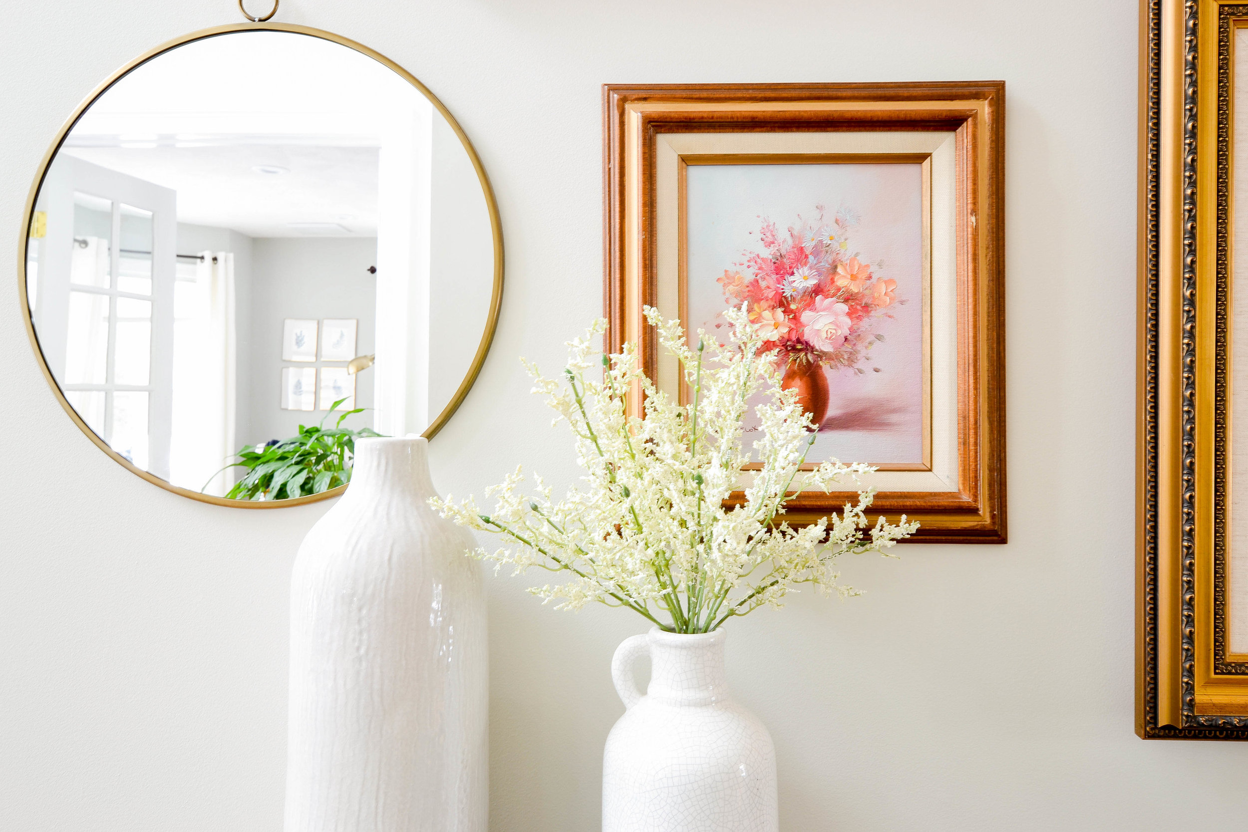 Gray Oak Studio Homestead Entryway - White vases and flowers
