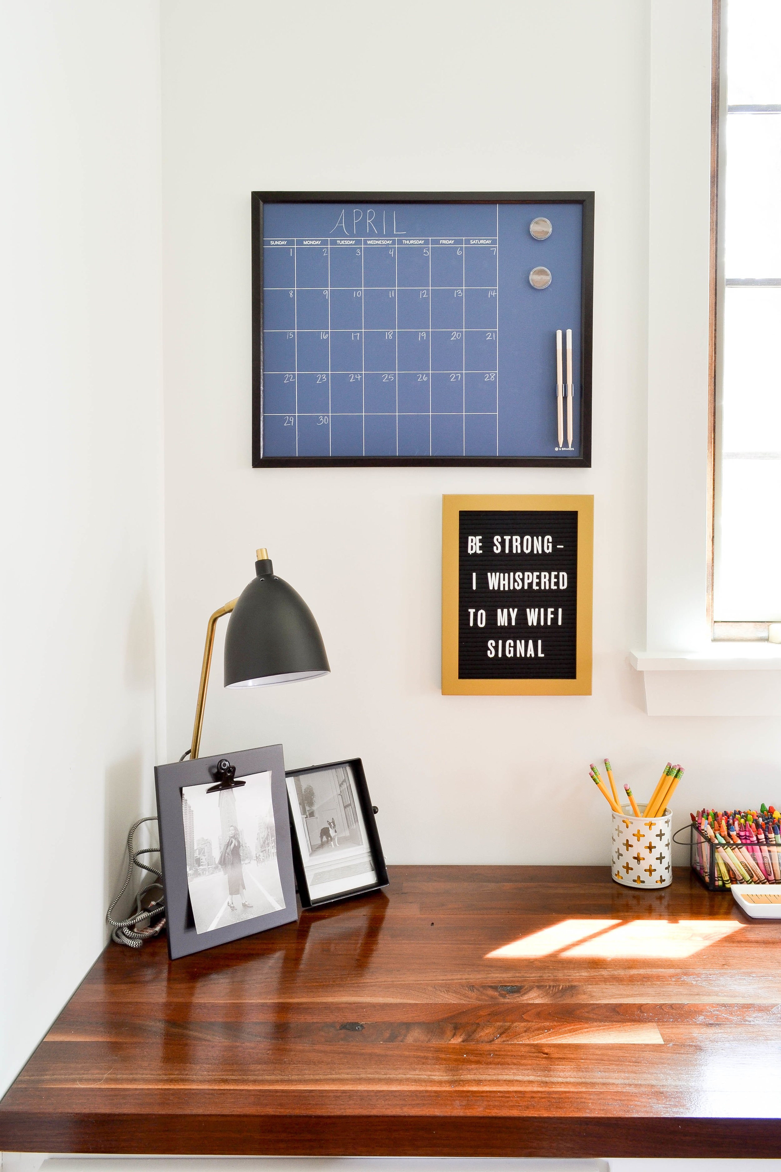 Gray Oak Studio Pilgrim Project Office Letterboard and calendar
