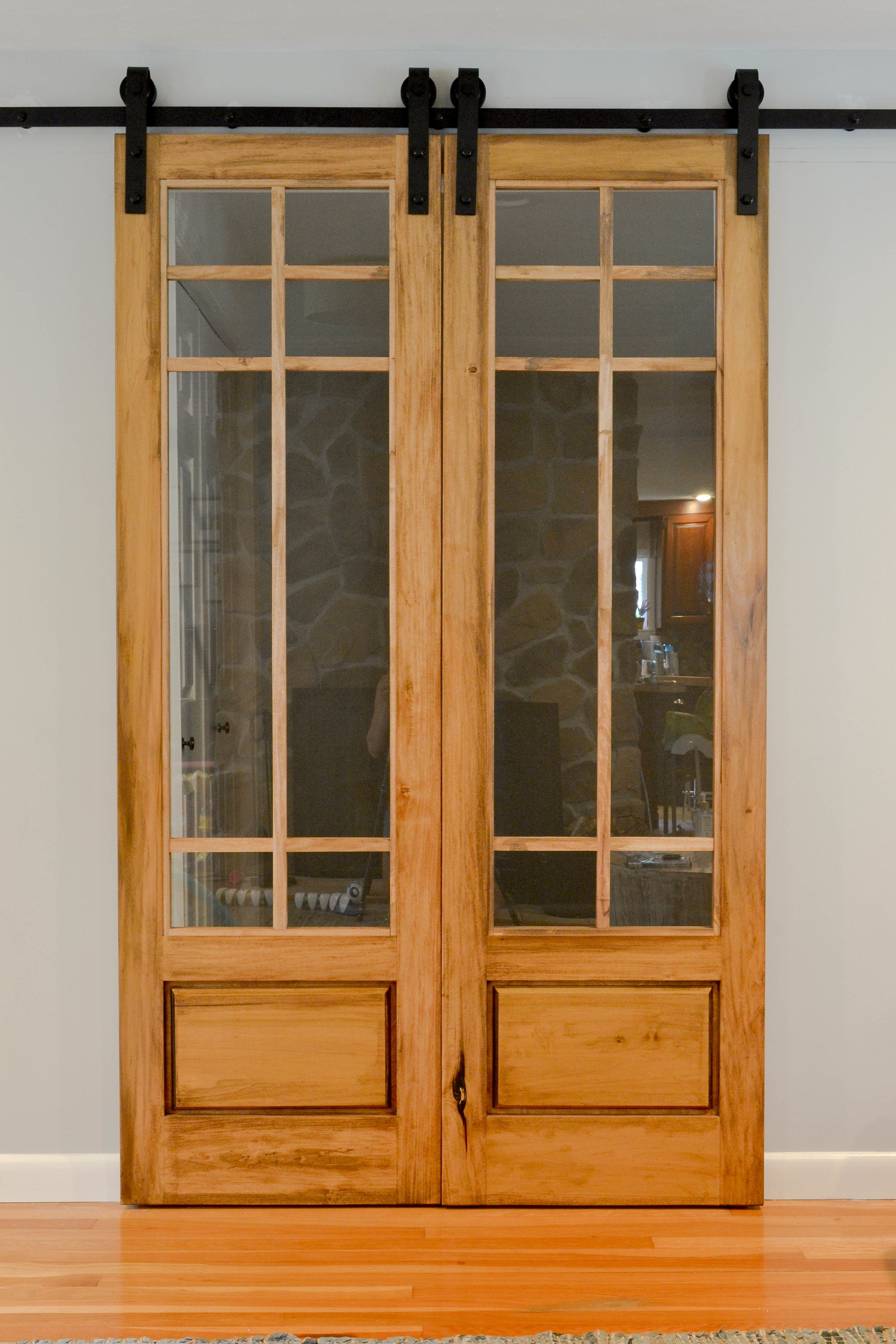 Gray Oak Studio Sliding French Barn Doors