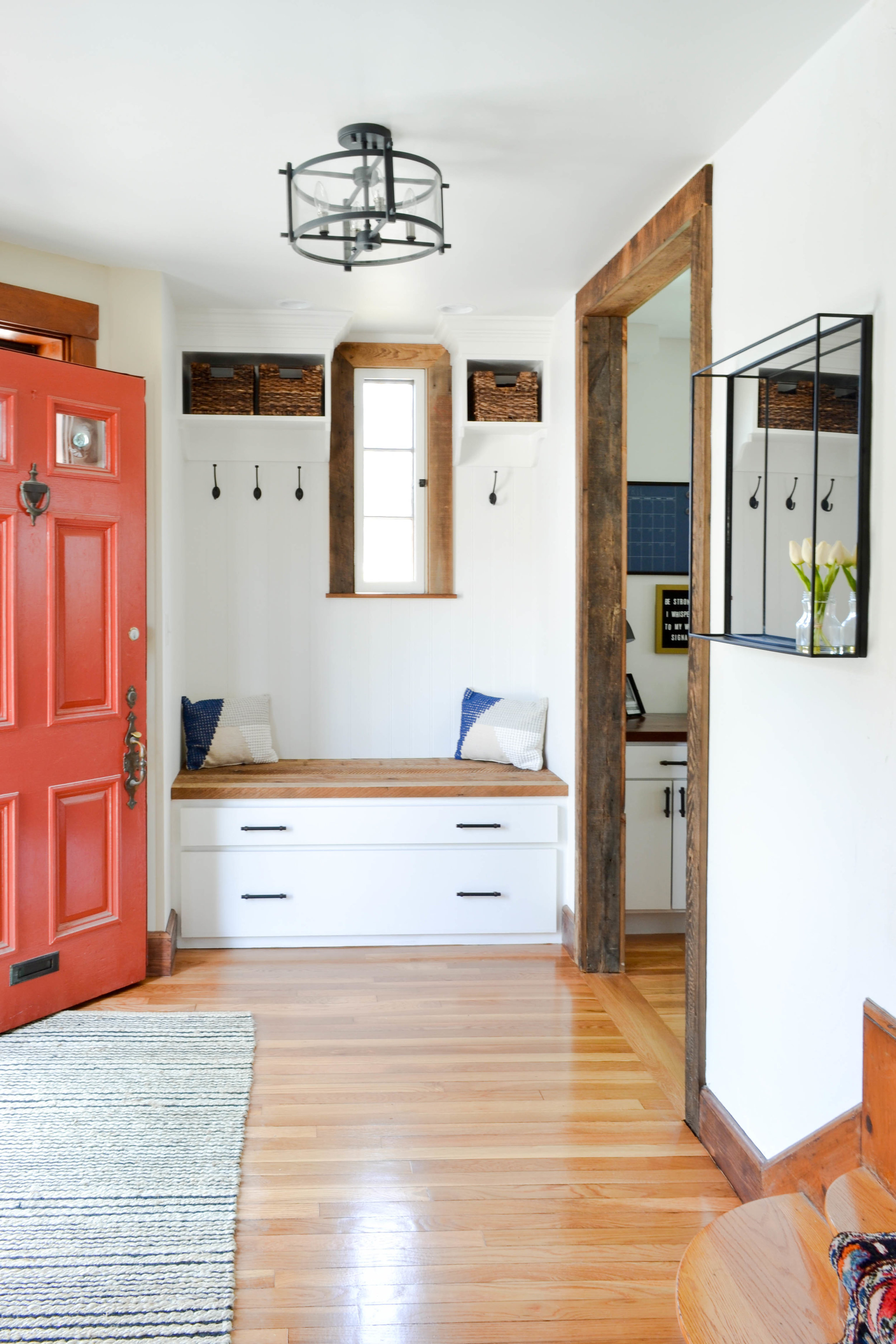 Gray Oak Studio - Pilgrim Project Mudroom - Built-in bench and cubbies