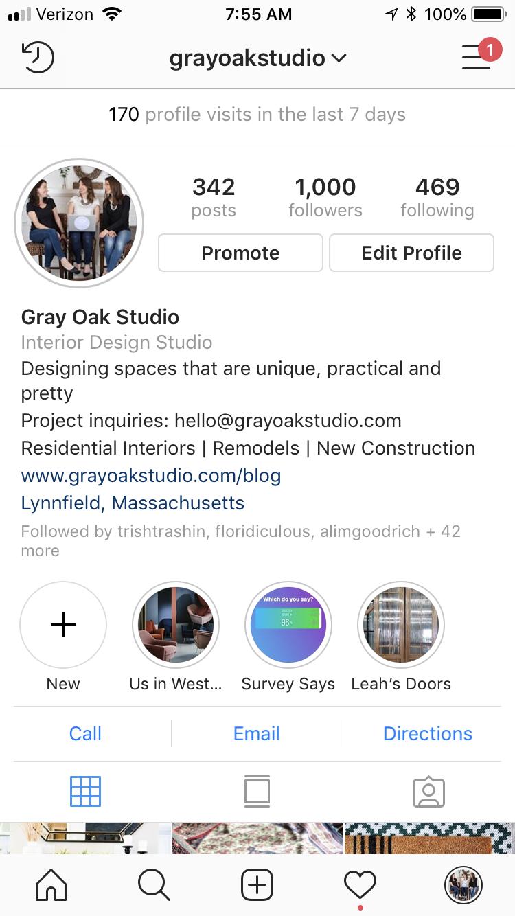 Gray Oak Studio - 1,000 Instagram Followers