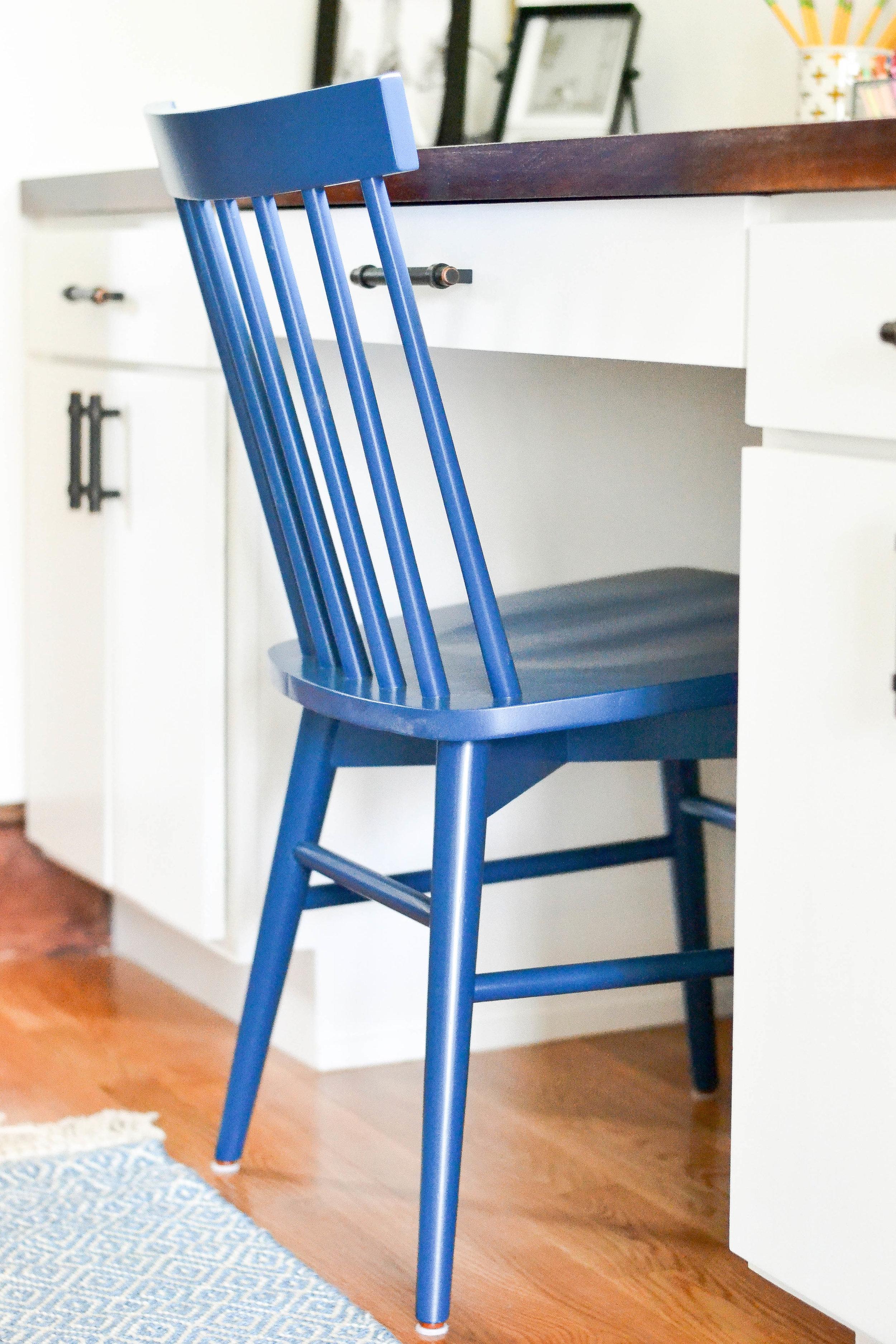 Gray Oak Studio - Pilgrim Road Office/Homwork Station Blue windsor chair