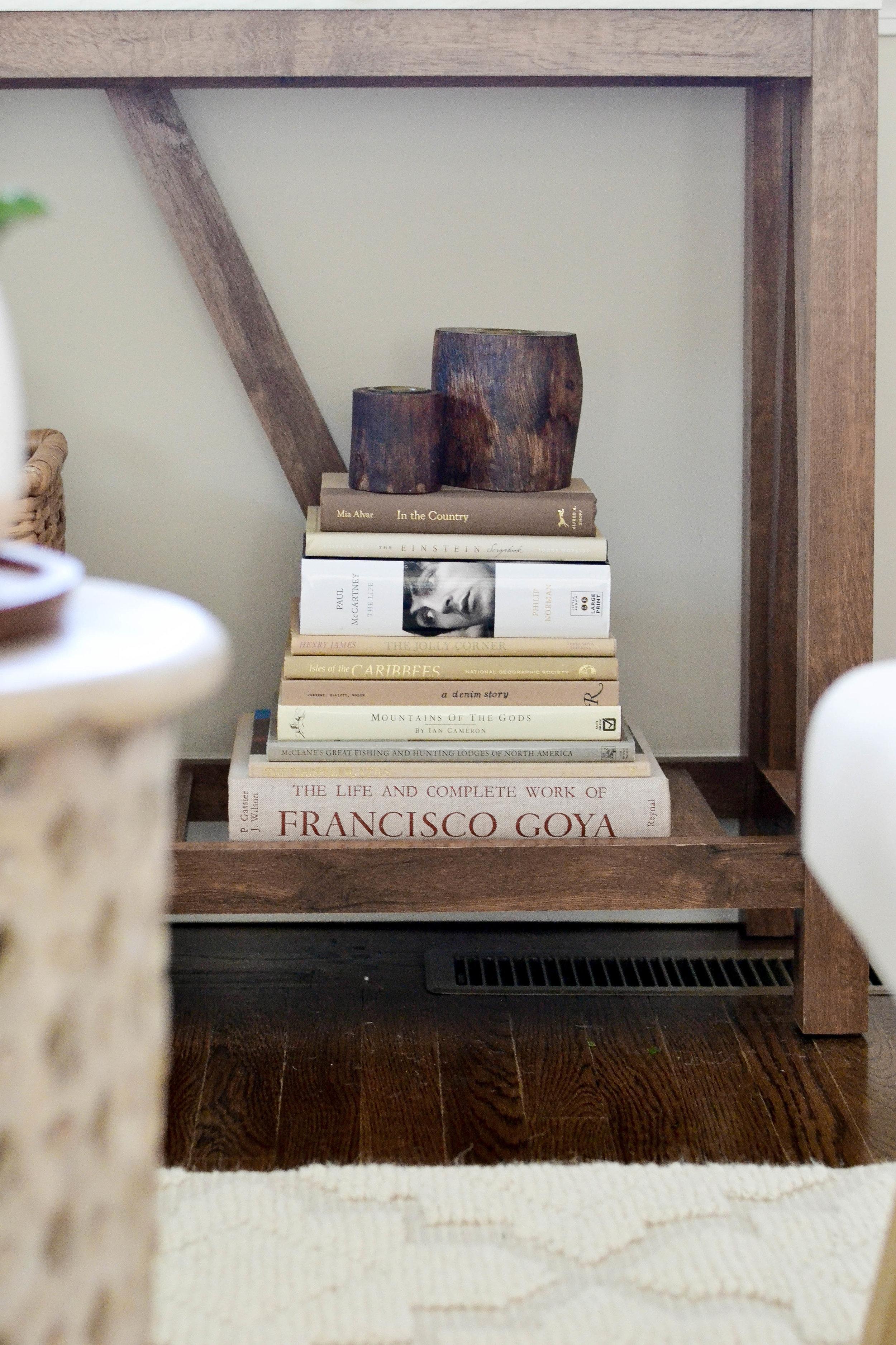 Gray Oak Studio - Lowell Project Living Room - Book Stack