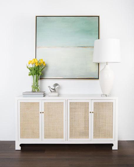 Cane front console table