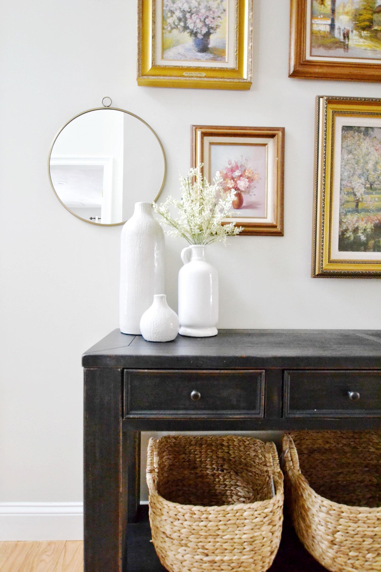 Gray Oak Studio - Rule of Three - cluster of white vases