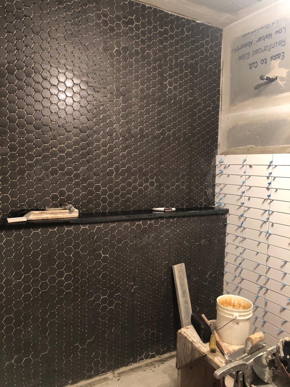 Gray Oak Studio - Wednesday Five - Black hex tile bathroom