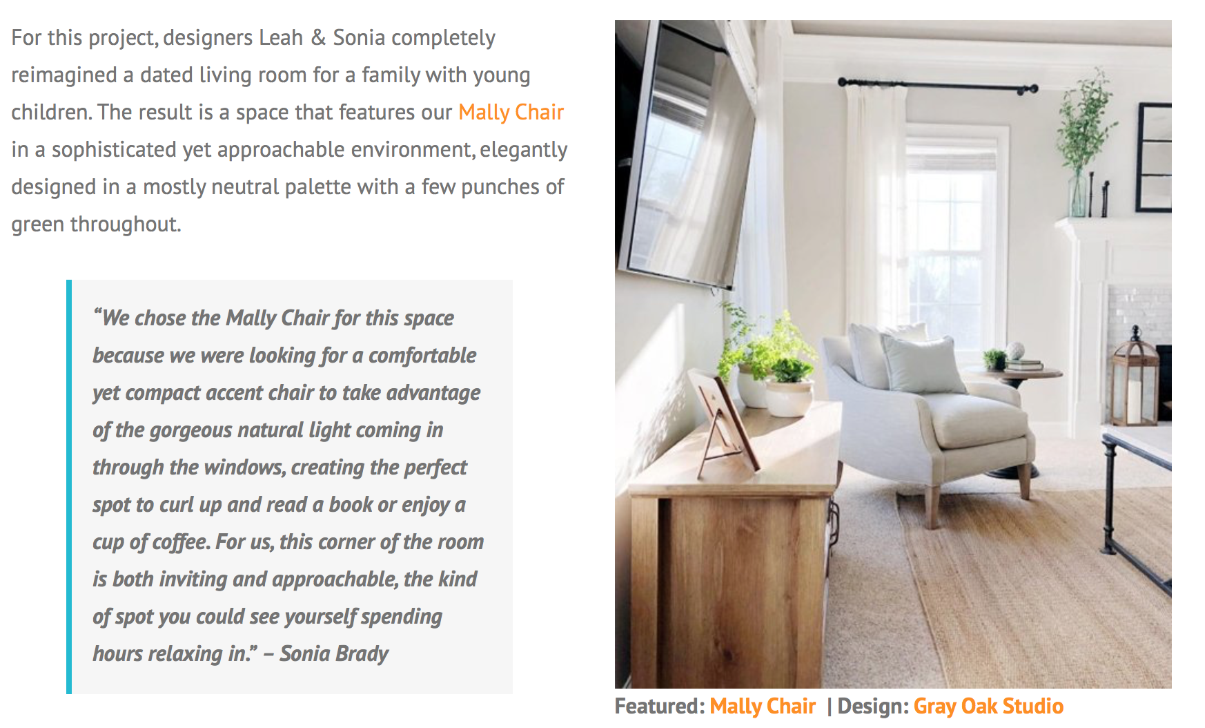 Gray Oak Studio - Rowe Furniture Blog - Mally Chair