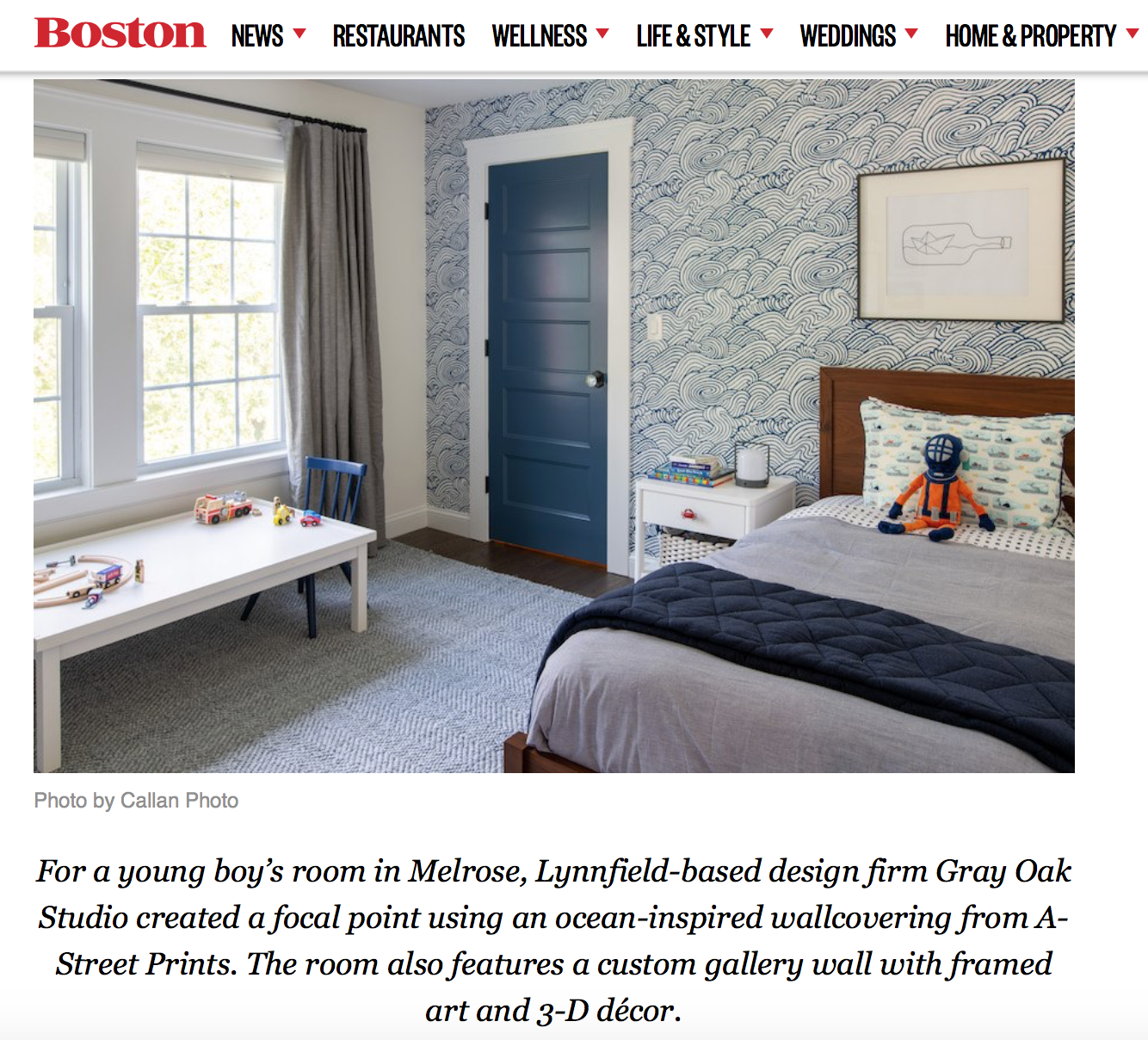 Gray Oak Studio - Boston Magazine - Kids Bedroom Feature