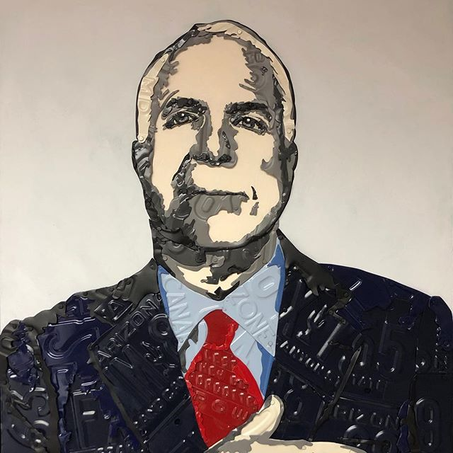 """We are Americans first, Americans last, and Americans always."" We lost a good man and a great American when we lost Senator John McCain.  This is my most recent creation, commissioned for a Christmas gift for @raythemaverick717 from his wife.  Senator McCain's jacket is Arizona license plates. His shirt is from the Panama Canal Zone, where he was born at the Naval base. His tie is a POW plate. Nod to his maverick nickname just under his hand. On McCain's wrist, there is an acknowledgement of the memorial bracelet he wore since 2007.  His hand is over his heart to show his love of his country.  We are thinking of the McCain family  and @meghanmccain @cindymccain  this holiday. Wishing them peace in the new year. . . . . . jennifer.savo.art . . ."