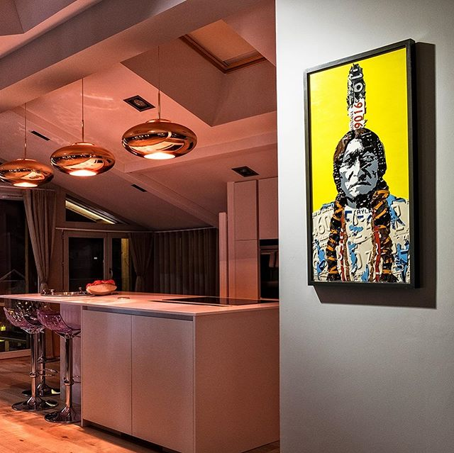 "Thank you to the new owner of ""Sitting Bull"" for capturing the reflective beauty and texture of this piece. The space isn't too shabby, either! . . . . . . . . jennifer.savo.art . . #sittingbull #licenseplateart #upcycledart #recycledart #recycle #artwork #vintage #metal #artstudio #artistsoninstagram #ratedmodernart #inspiration #instamood #follow #artist #rustygold #rusty #trashtotreasure #licenseplate #popart #reclaimedart"