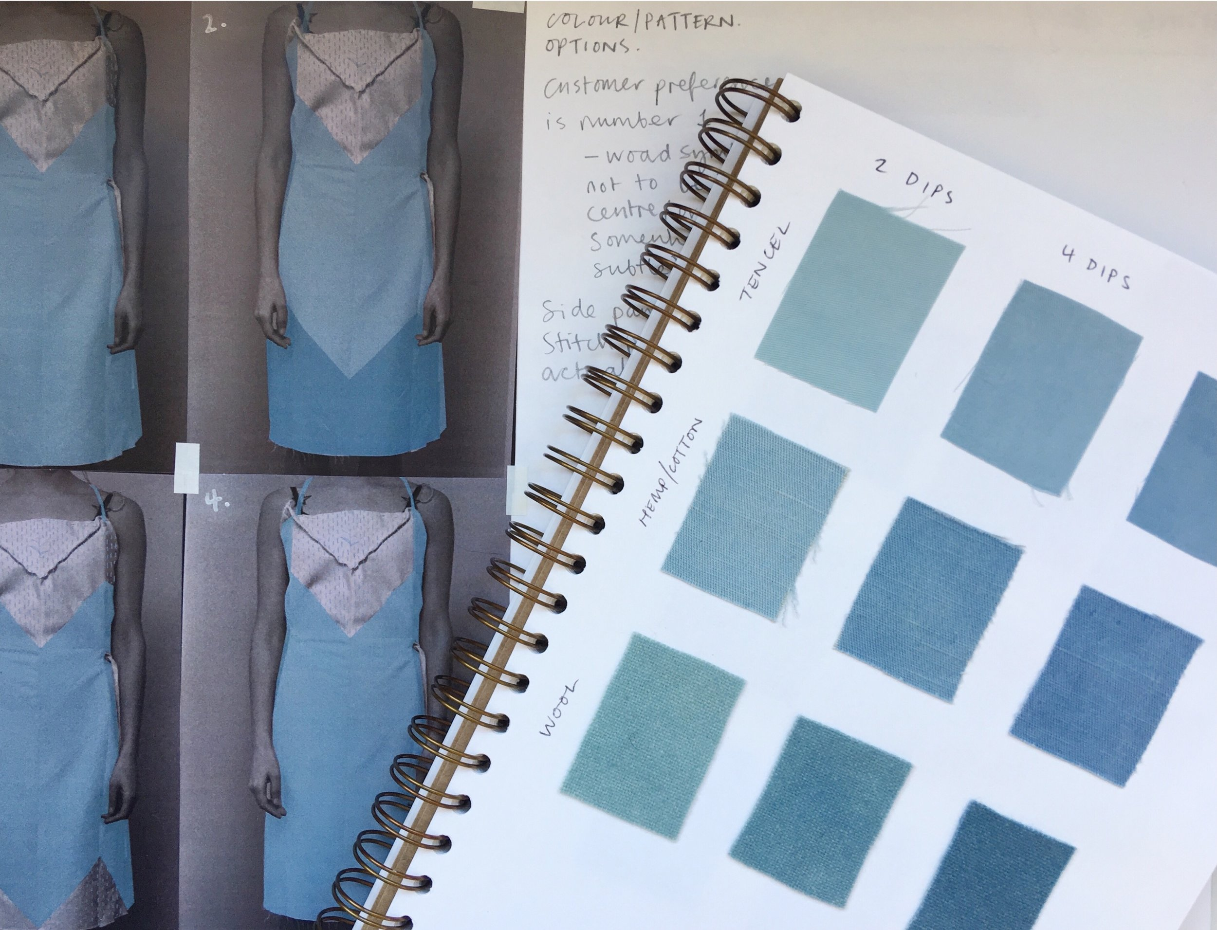 Initial plans and dye sketchbook: I love using this woad because I can source it in the UK. It is grown and processed by  Woad Inc  in Norfolk.