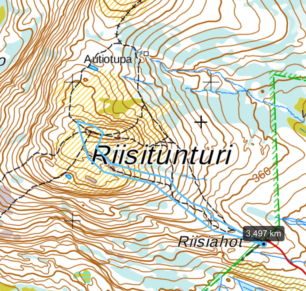 Visiting Riisitunturi is about 3-4 km hiking. I recommend snowshoes or skis to be able to go off the tracks.