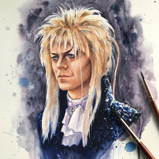 It wouldn't be con season if I wasn't getting things done just under the wire! 😅 For all you lovely Jareth fans, this one is for you!! 💕 #labyrinth #heroescon #heroescon2019 #goblinking #thegoblinking #davidbowie #magicart #watercolor #watercolorart #jareth #witchyart #fantasyart #watercolorillustration #fantasyillustration #jimhenson #bowie