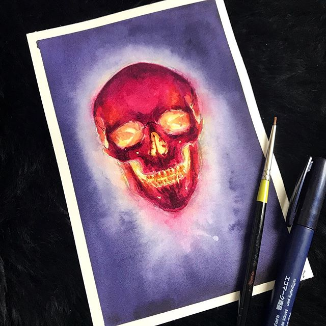 We are back to our regularly scheduled programming! This year, instead of doing a classic Inktober lineup, I wanted to take this month to experiment a bit. I'm calling it #lichtober ! Necromancers, Liches and skeletons will abound, so strap in guys- it's about to get spooky 💀#skull #radioactive #Inktober #drawlloween #skeleton #necromancer #necronomicon #watercolor #danielsmith #witchyart #gothart #darkart #lich