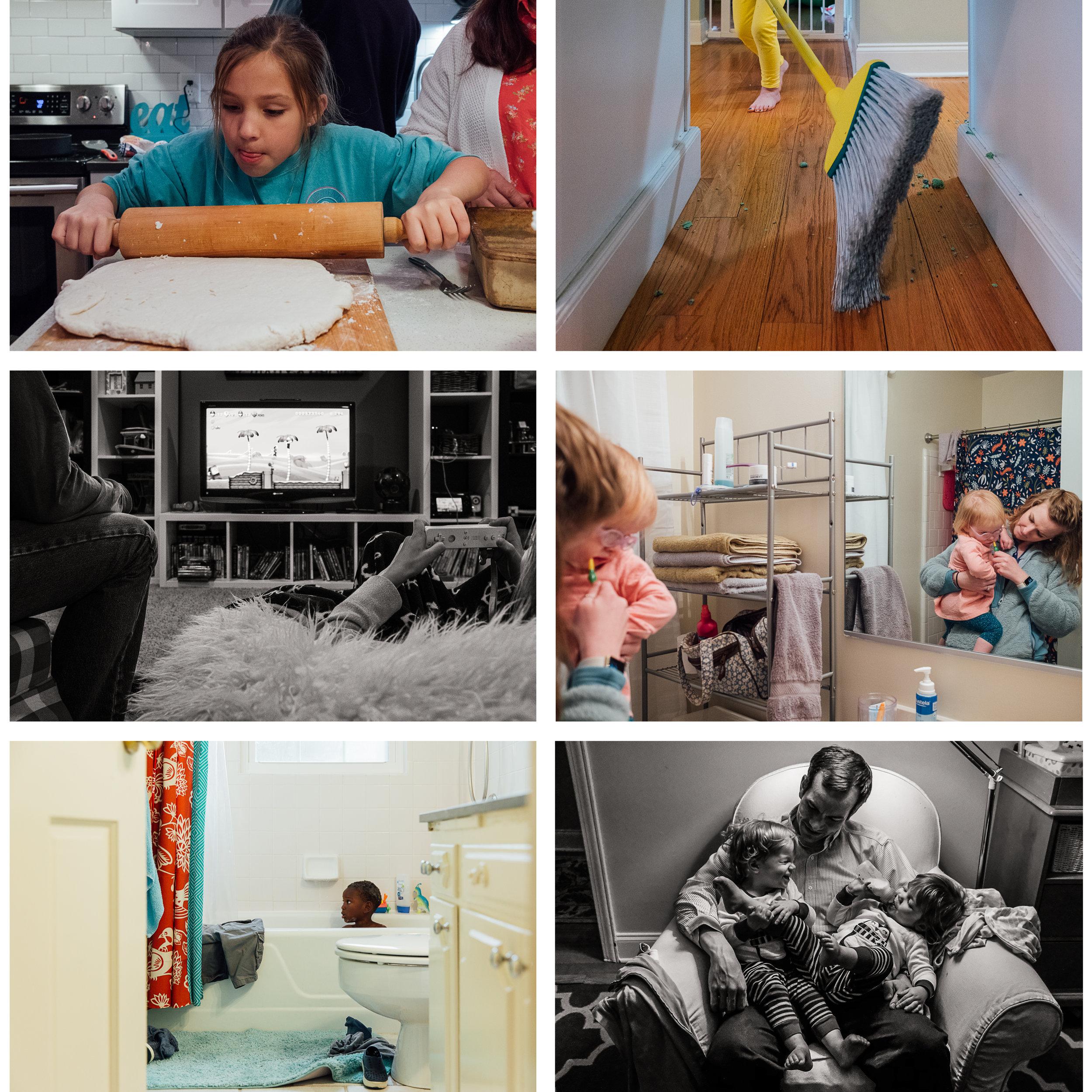 At Home - Cook/bakeDo choresWork on homeworkRead booksPlay gamesBathe the kidsDo the bedtime routine