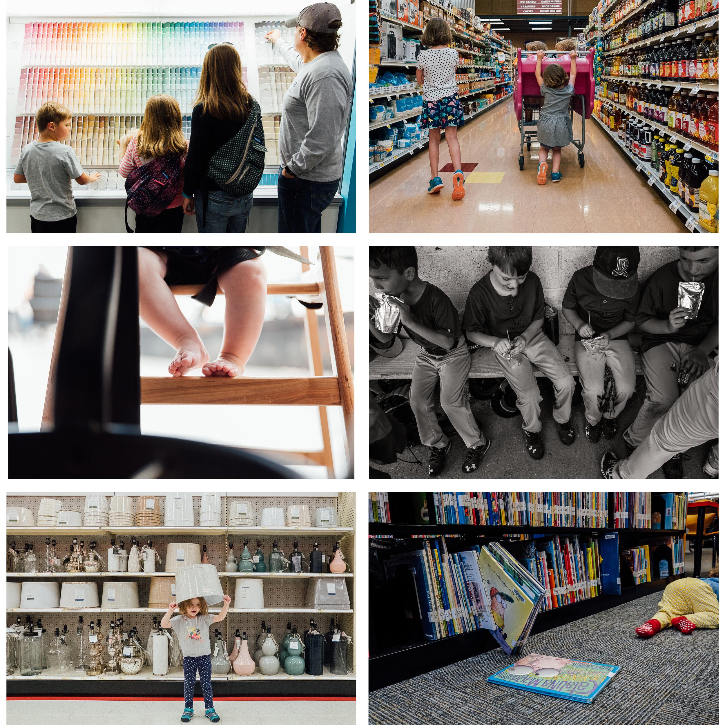 Out & About - Grocery shoppingLibraryHome improvement storeFarmers MarketGarden center/nurseryTargetRestaurantMusic/Art lessonsSports/Ballet/Tae Kwon DoHair salon