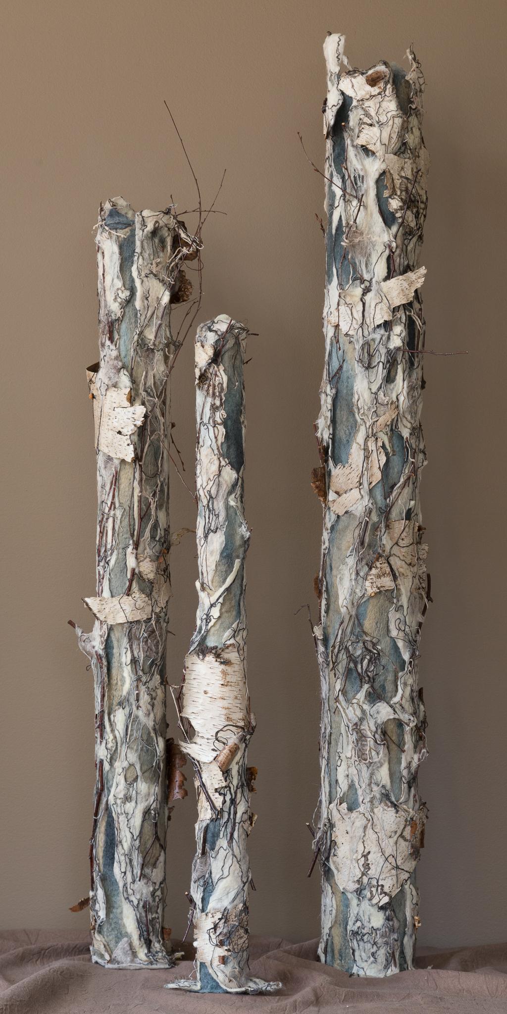 birch trio 'winter'   handmade felt, mixed media  46 x15 x15