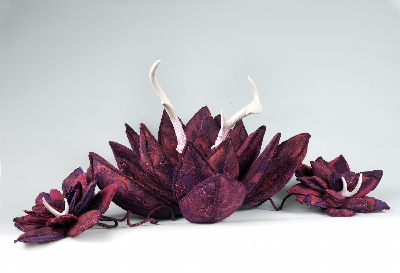 agave 'doe and fawns'   handmade felt, antler, polymer clay  13 x36 x15